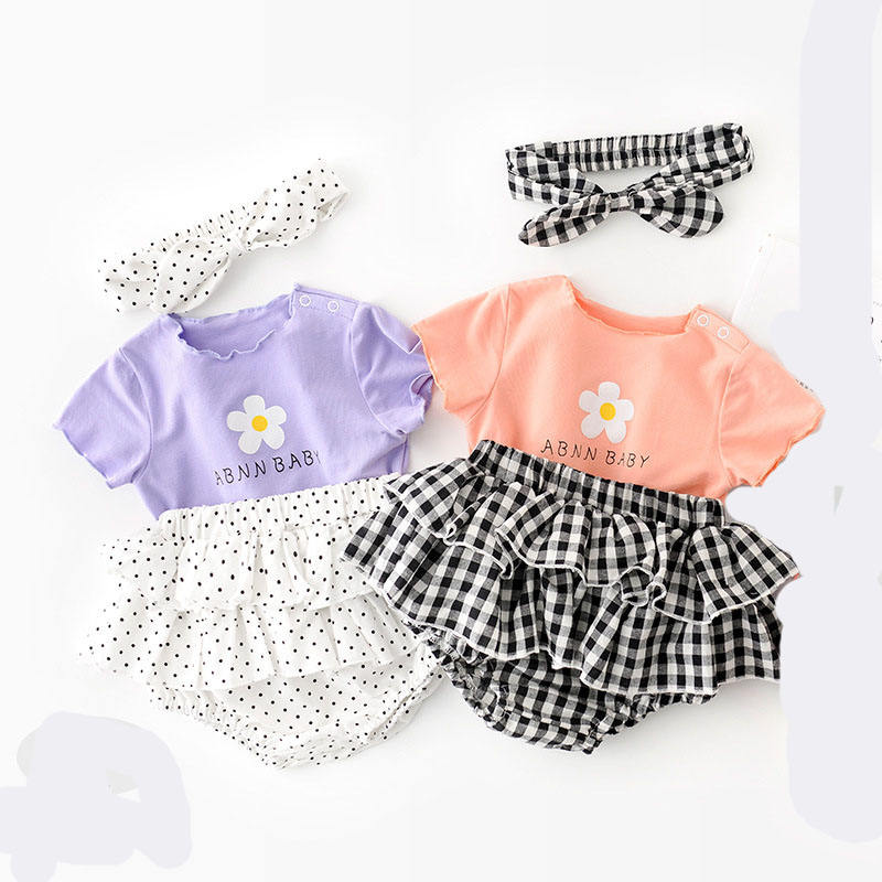 2020 Summer Infant Sets Flowers Candy-Colored Cute Polka Dot Bodysuits and Hair Band