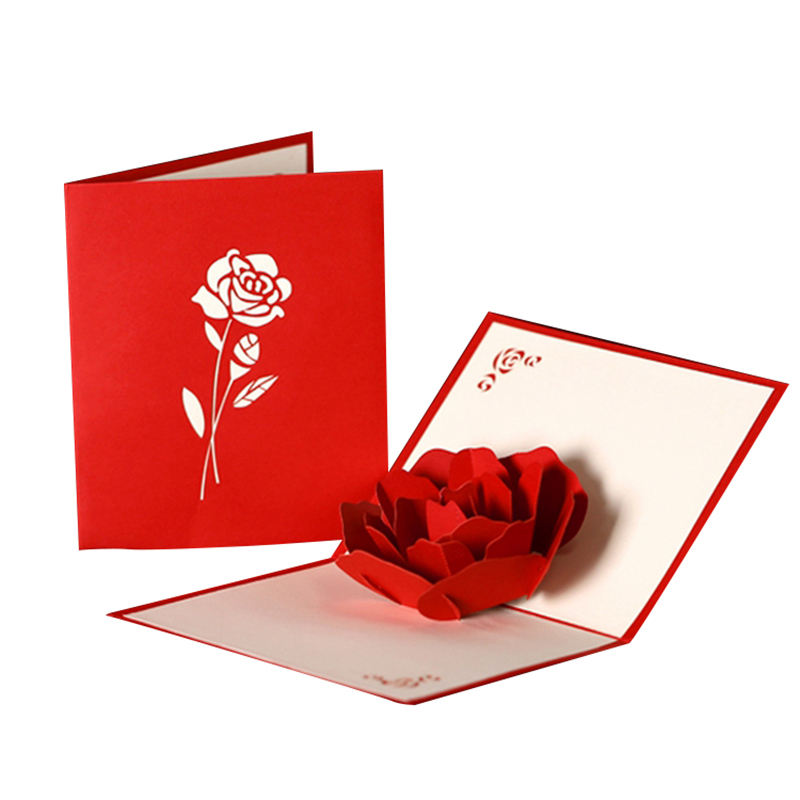 Ywbeyond Handicraft Holiday 3D Pop UP Greeting Cards Red Rose Flower Wedding Invitation Card