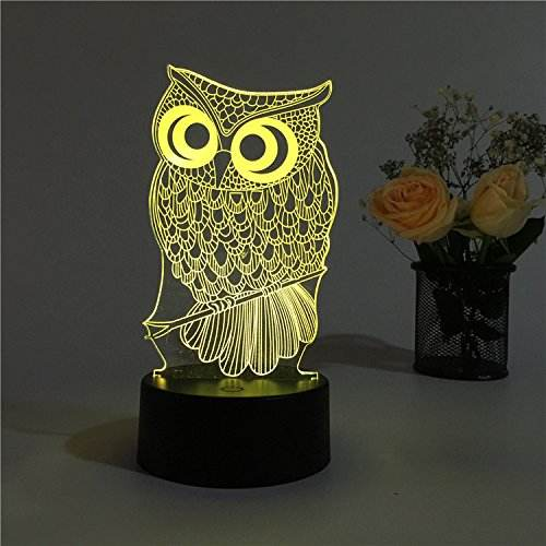 High Quality customization 3D Optical Illusion Cartoon Owl Multicolor Touchable Switch For Kids Gift LED Light Night