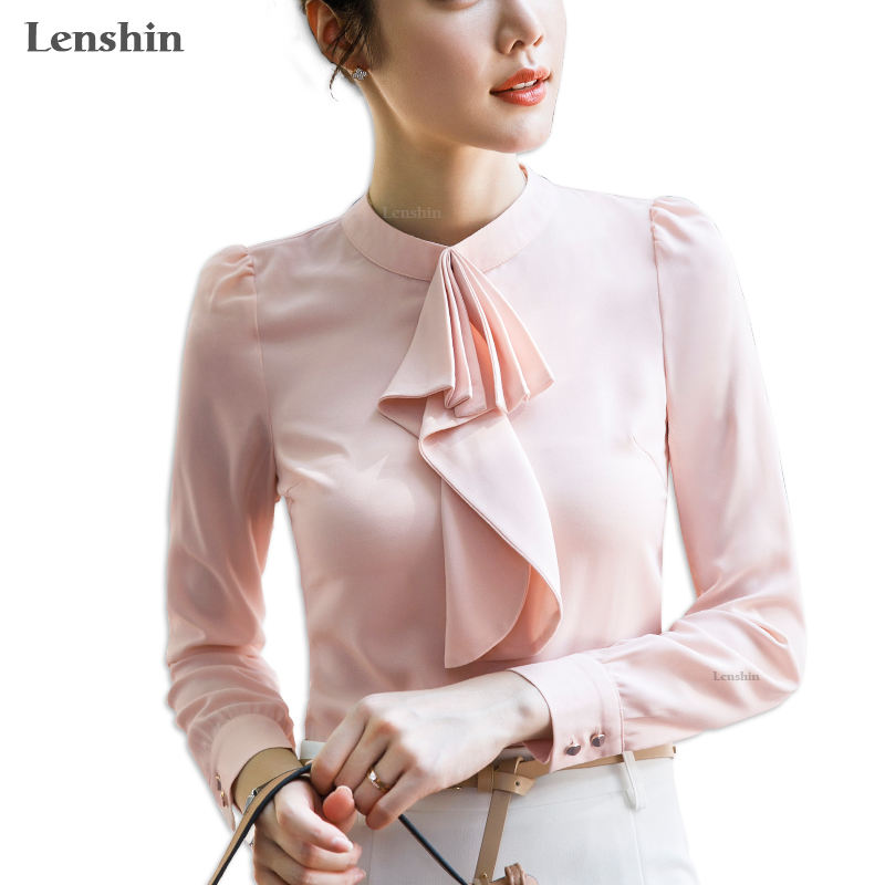 Wholesale Chiffon Shirts für Women Tie Blouse Work Wear Office Lady Bow Female Tops Chemise Loose Style großhandel dropship