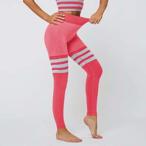 Women's high waist tight stretch yoga pants Seamless striped breathable quick-dry fitness pants