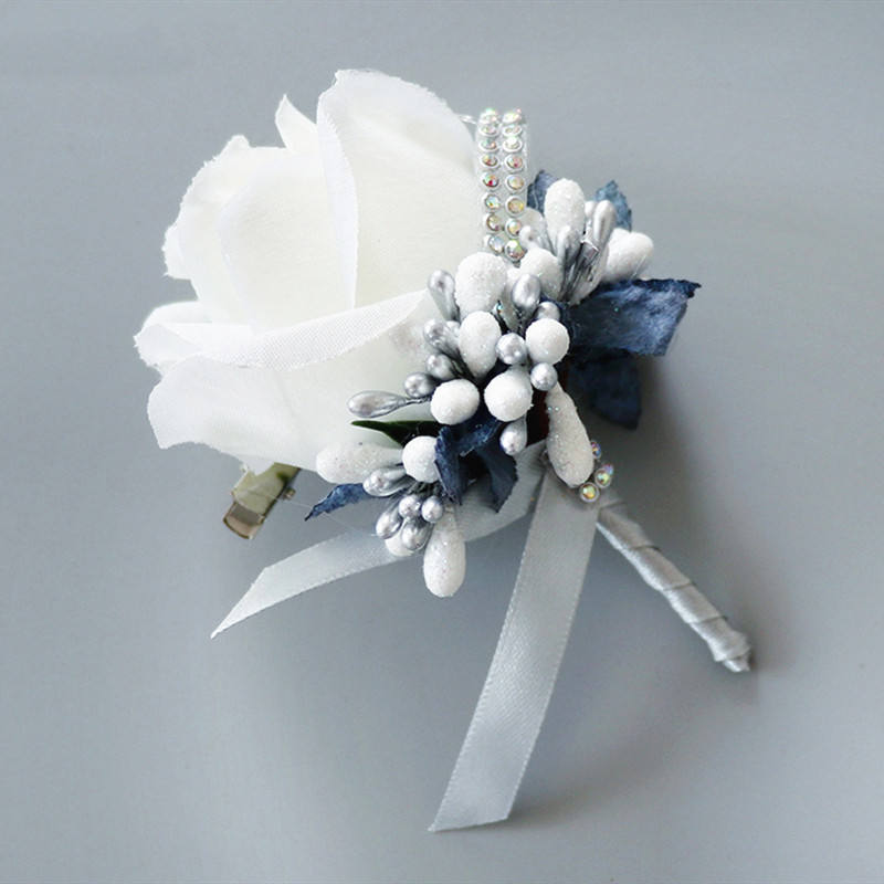 Hot Sale Romantic Artificial Boutonniere Flowers Silk Corsage For Wedding Decor