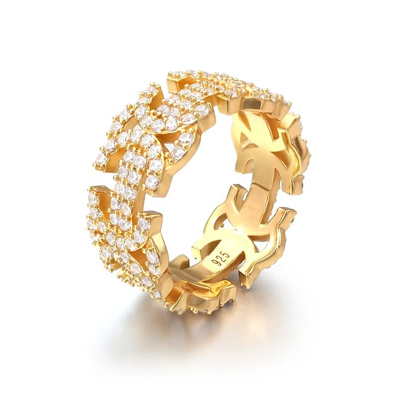 Gold plated hip hop iced out cz diamond men finger eternity band rings