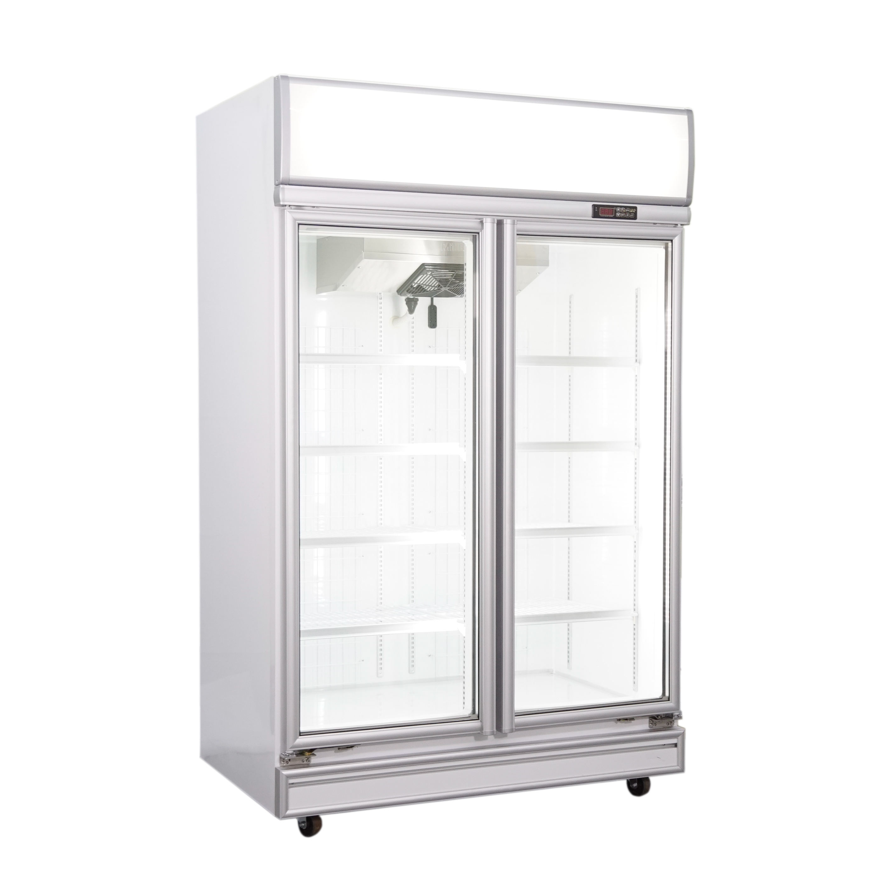 Supermarket 1050L upright 2 door glass freezer