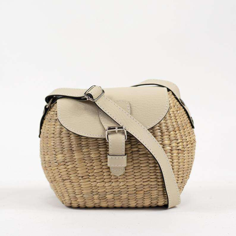 Handwoven straw bag, mini straw crossbody purse