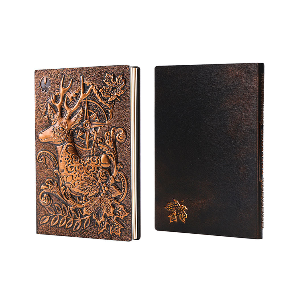 professional factory supply antique PU leather journal , custom notebook 3D embossed leather book,Christmas gift