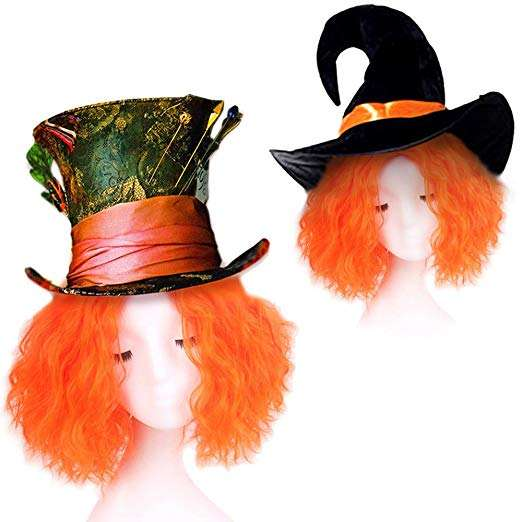 Halloween Goblin Party Short Curly Fancy Dress Hatter Wig Orange Witch Pumpkin Wig For Party