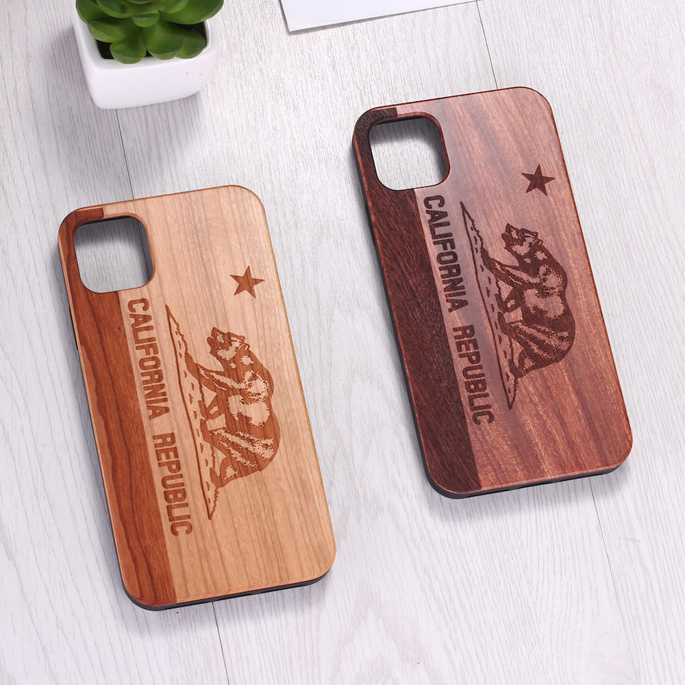 California <span class=keywords><strong>Republik</strong></span> Bär Echt Holz Telefon Fall Coque Funda Für iPhone 6 6S 6Plus 7 7Plus 8 8Plus X XR XS Max 11 Pro Max