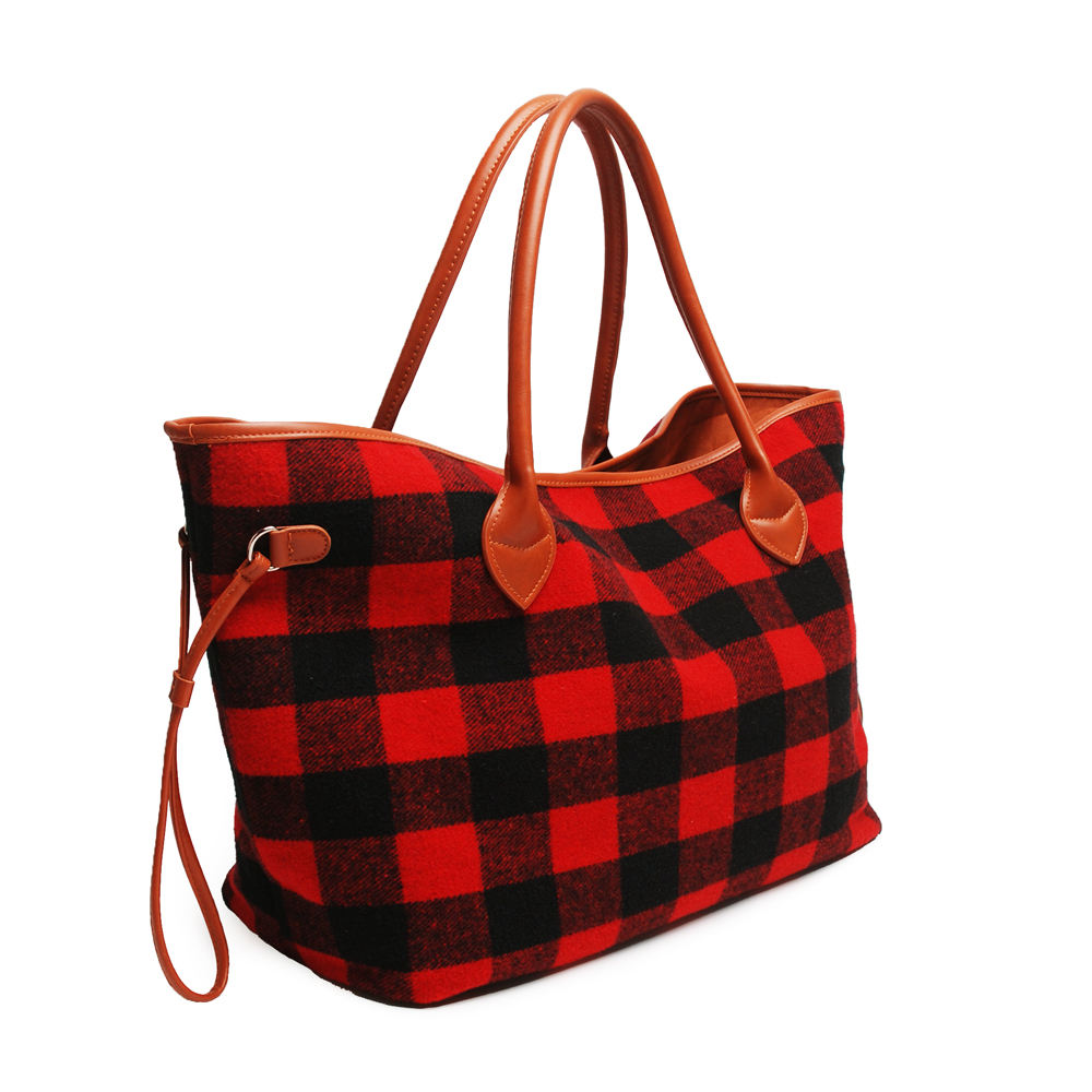 Christmas Buffalo Check Flannel Christmas Festival Designer Women's Casual Travel Beach Tote Bag DMA6377