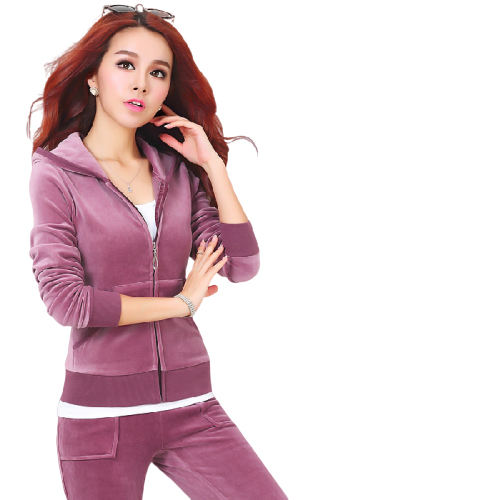 Women's Slim Fit Running Wear Gym Velour Tracksuit
