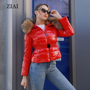 New fashion women winter shiny waterproof padded coat duck down jackets with real fur hood girls puffer coat