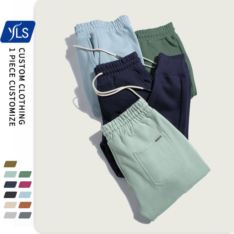 470gsm 100 Cotton Thick Custom Character Logo Elastic Waist Sweat Stack Jogging Pants Baggy Plain Sweatpants Mens