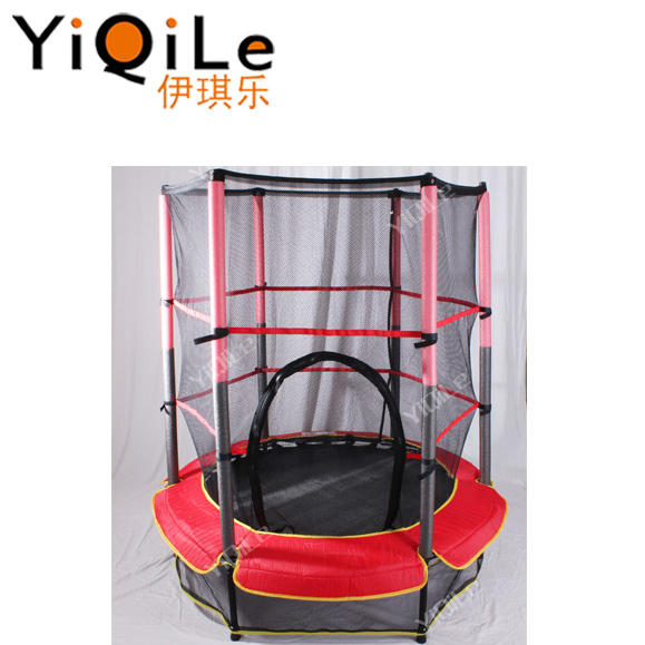 yiqile indoor safety trampoline indoors kids funny game trampoline with safety net small size trampoline for children