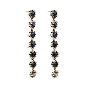 Fashion Anting-Anting Hitam Berlian Imitasi Anting-Anting Vintage Stud Anting-Anting Grosir QE813B
