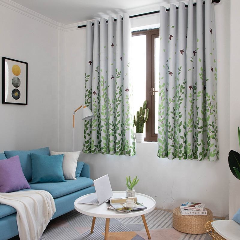 Wholesale ready made window blackout printing short bay window blackout curtain panel for bedroom living room glass doors balcon