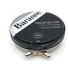 Customized Black Round Cosmetic Box Shoe Polish Tin Container with Lid