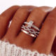 HHX028 Fashion Couples Gold Female Engagement Wedding Jewelry Infinity Rings Set For Women Girls Crystal Twist Ring