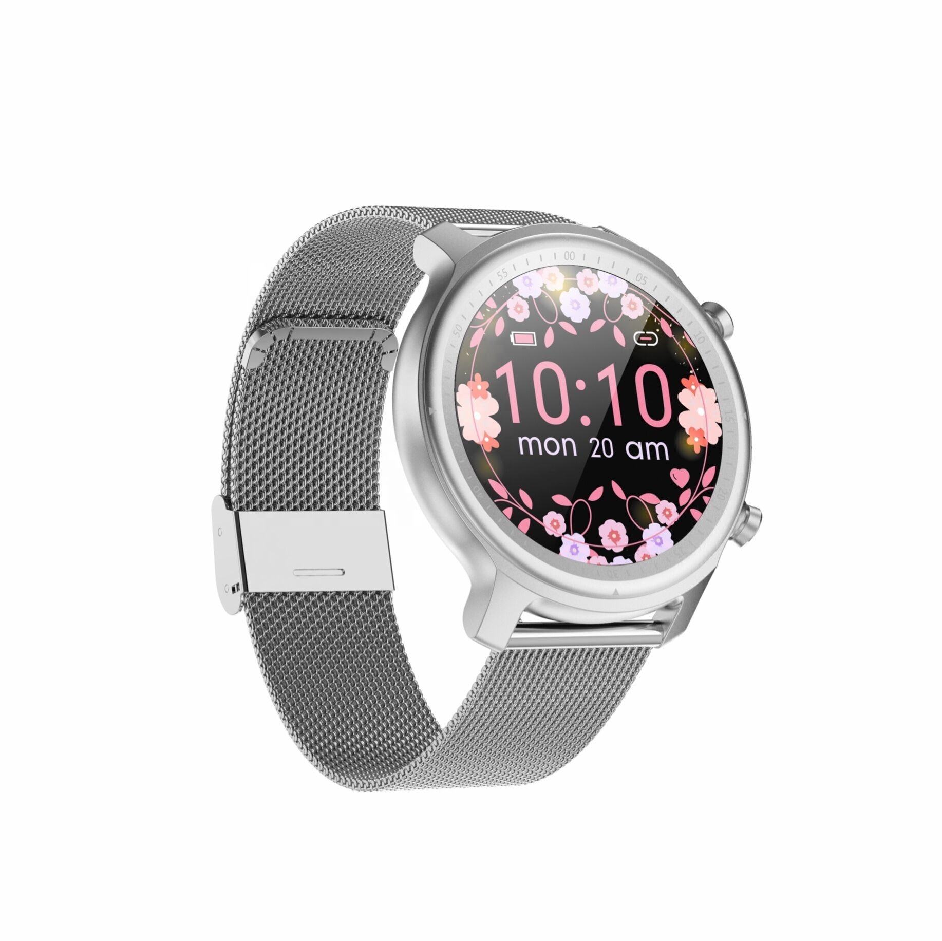 High Performance Round Touch Screen Stainless Steel Mesh Band Android BT Call Smart Watch