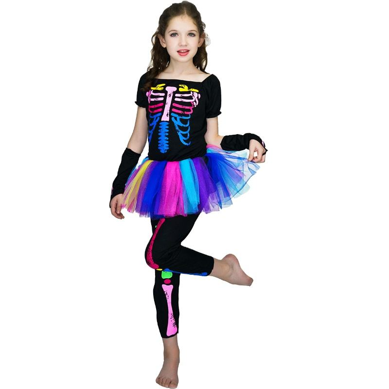 Halloween Carnival Party Skeleton Costume Girls Colorful SkeletonTutu Dress Skeleton Dress