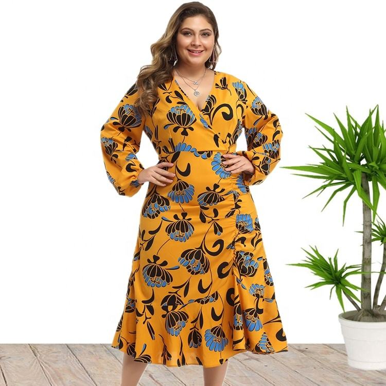 2020 Spring Fashional V Neck Floral Print Plus Size Dresses Long Sleeve For Women