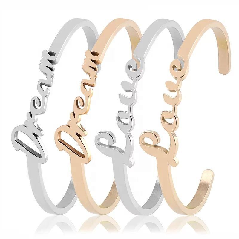High Quality Stainless Steel Cuff Bangle Bracelet Women Jewelry