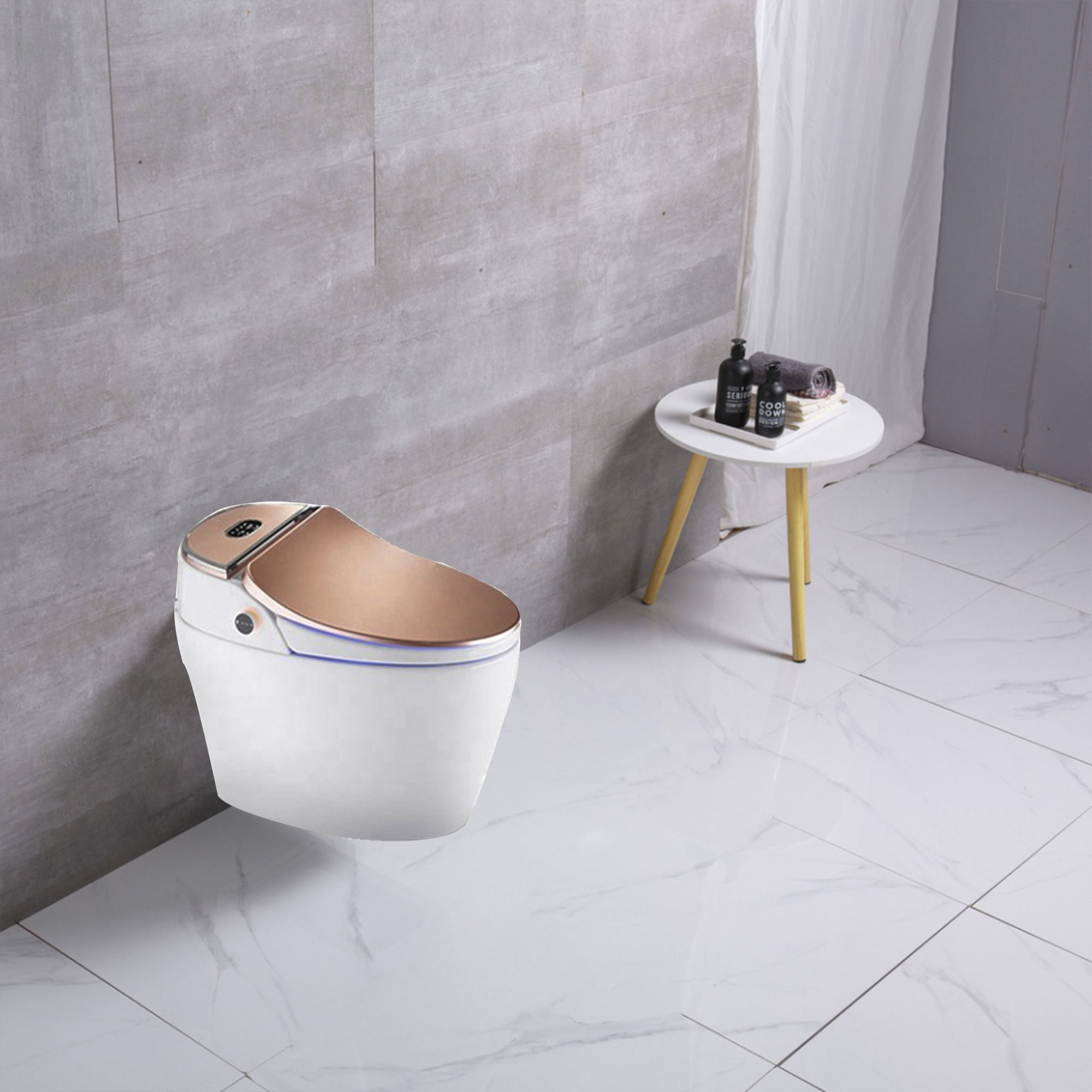 One piece Intelligent Water Closet Rose gold Floor mounted P-trap Smart Toilet