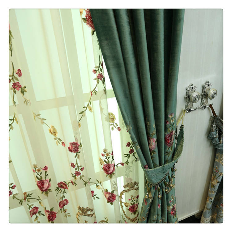 Soft Luxury Thermal Insulated Blackout Velvet curtain fabric embroidery Ready Made Curtains For Living Room