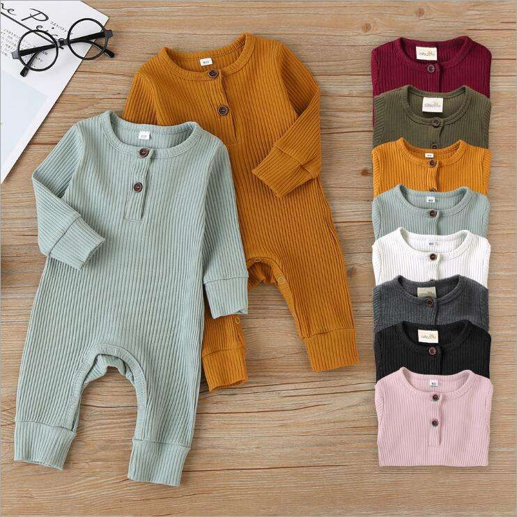 Spring/ Autumn Long sleeve Unisex Infant Clothing ribbed baby romper onesie baby boys clothes solid color newborn baby bodysuits