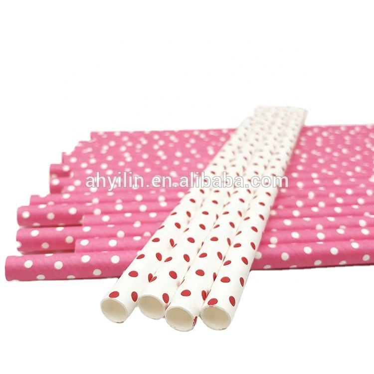 High quality cheap price polka dot /straight paper straws used in party event for coffee wine