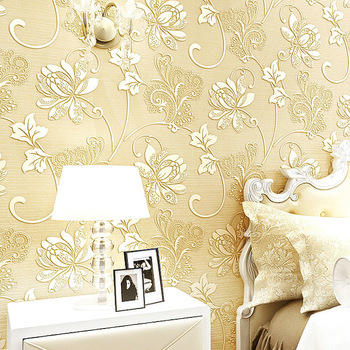 Hot Sell European Modern Nonwoven Silk Flower Wall Paper 3D WallPaper for Home Decoration
