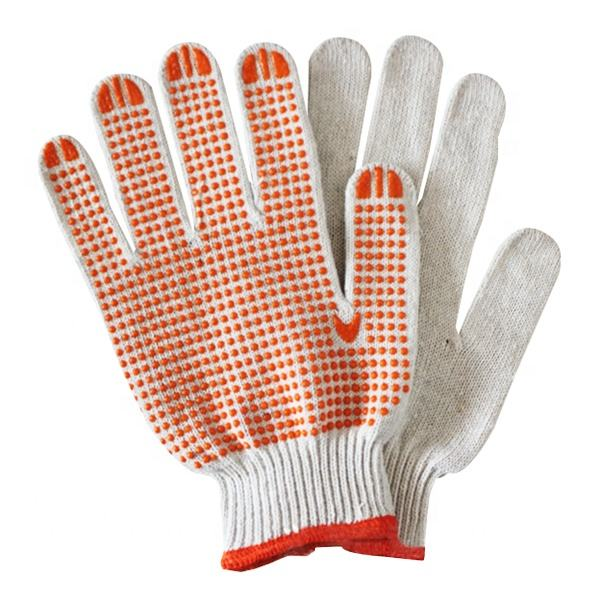 OEM Wholesale 58g Single Side Pvc Dotted Gloves Bleached White Cotton Gloves