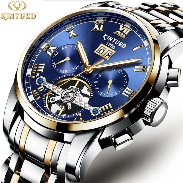 KINYUED Best Selling High Quality Skeleton Automatic Mechanical Gold Watch