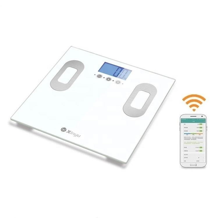 China electronic glass wireless smart calorie fit digital analyser weight bathroom bmi bluetooth body fat scale