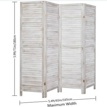 Washed white 4 panel pine solid wood room partition screen