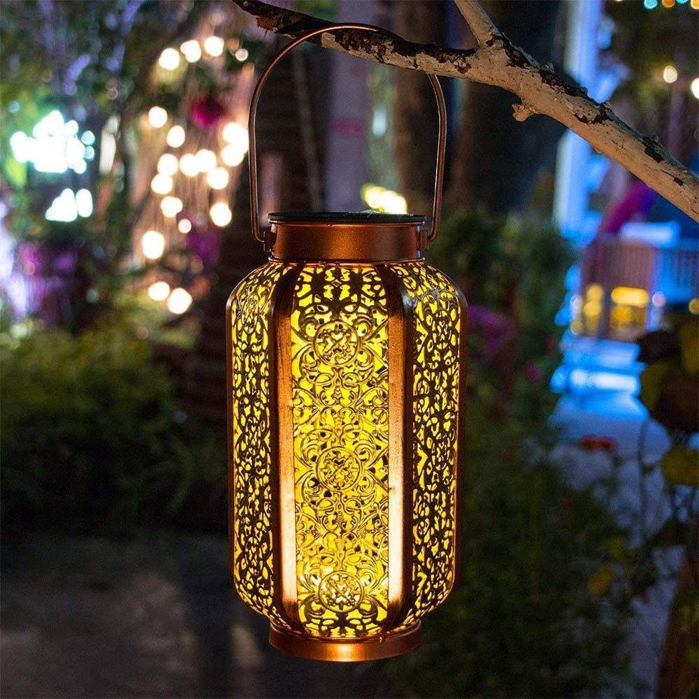 Outdoor Solar Garden Lantern Hanging Lights Waterproof 7 Lumens Warm White LED Lamp for Patio Outside or Table