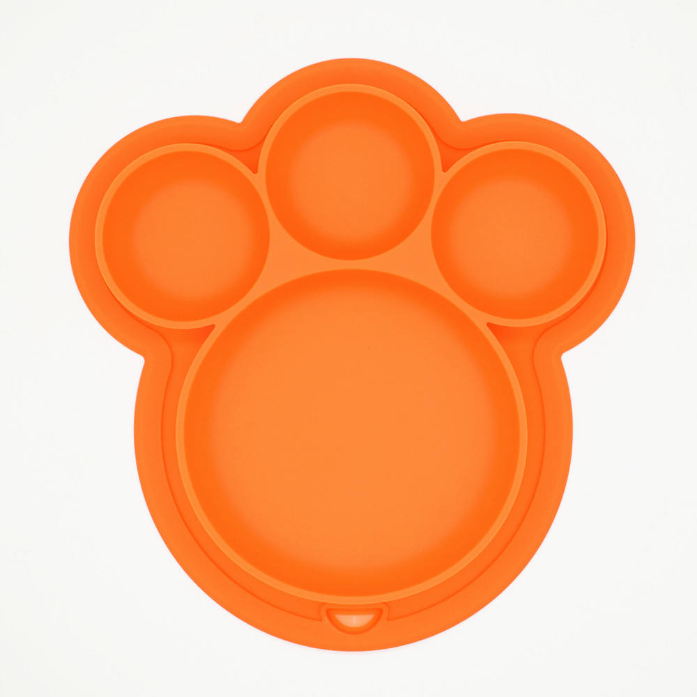 Silicone Suction Plate Bear Footprint Silicone Dinner Plates Eating Mat for Babies Feeding Plates with a Hang Hook