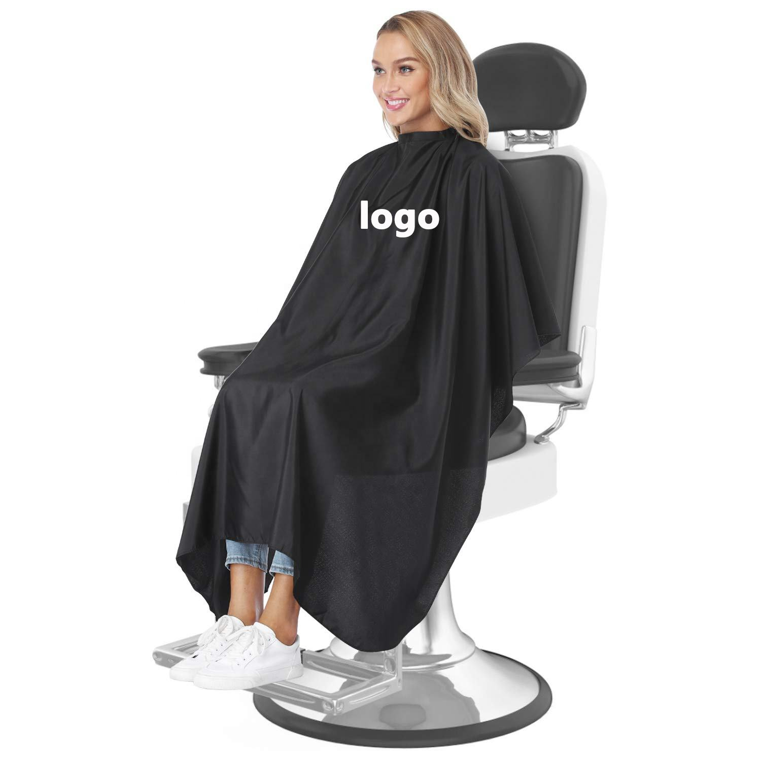 custom logo polyester hair salon makeup haircut gown barber hairdresser capes