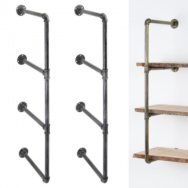 Brackets Heavy Duty 2 3 Layers Tiered Decor Rustic Metal Steel Mounting Cast Iron Industrial Wall Shelf Floating Pipe Bracket