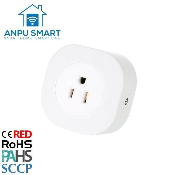 ANPU Factory Wholesale USA Standard Mini Smart Plug Outlet Wifi Smart Plug App Control Wireless With Google Smart Plug CE ROHS