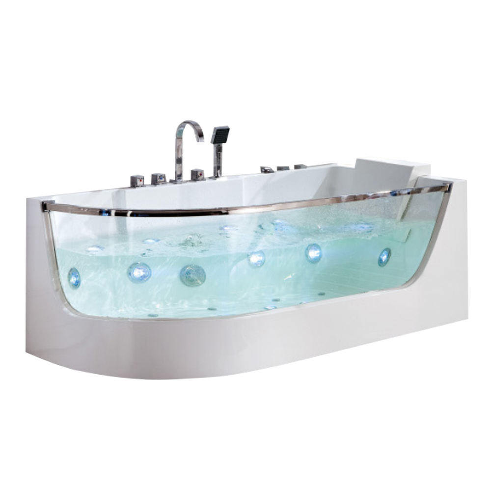 with tempered glass side whirlpools 900mm square jacuzzi acrylic bathtub