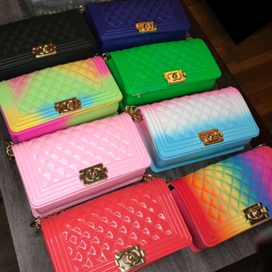 2020 Fashion luxury rainbow purse chain lady colorful bags candy jelly hand bags handbags clear women purses handbag jelly bag