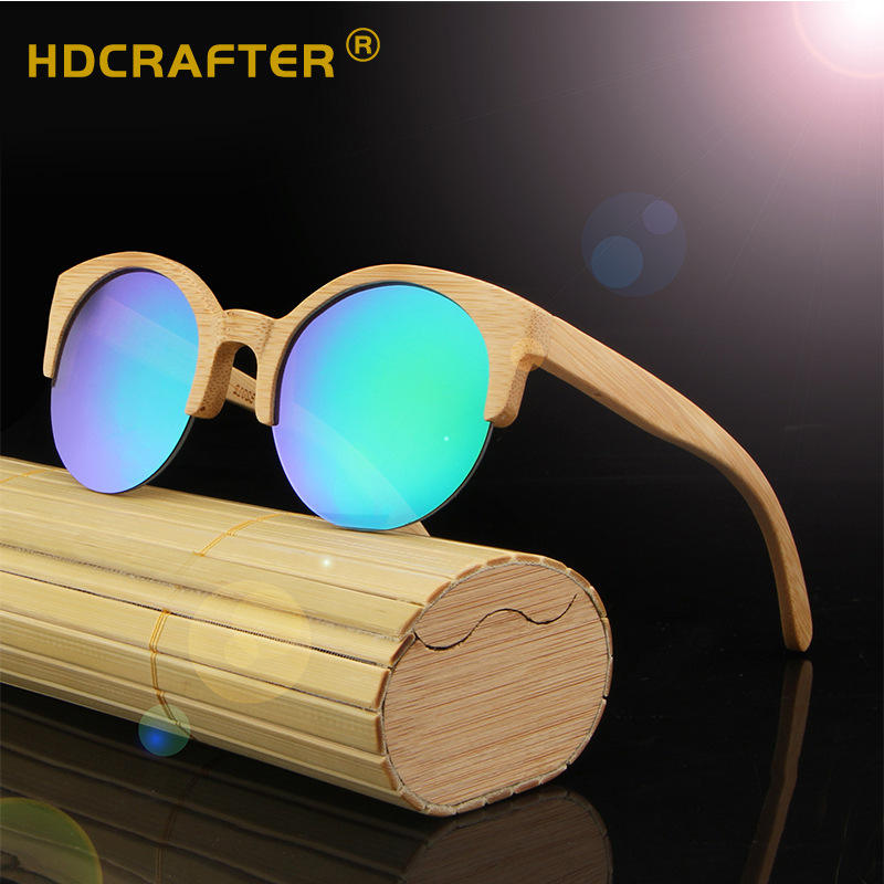 HDCRAFTER2020 new design bamboo sunglasses half rim frame wooden women sunglasses vintage round men sun glasses