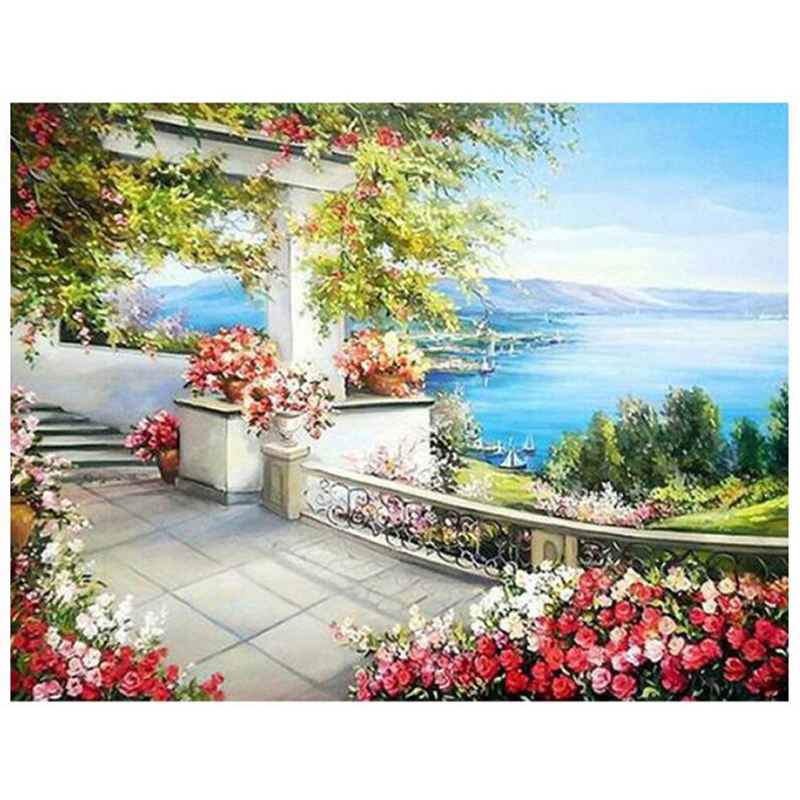 "Scenery ""by the shores"" round rhinestone full drill diamond painting kits"