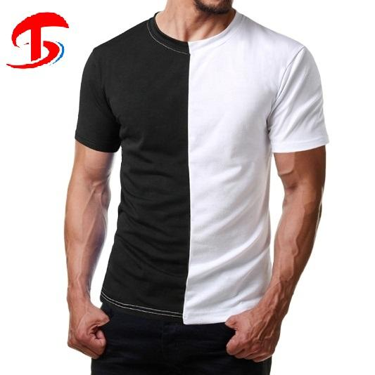Custom Mens Color Block Half Black Half White casual pro club Two Tone T Shirt