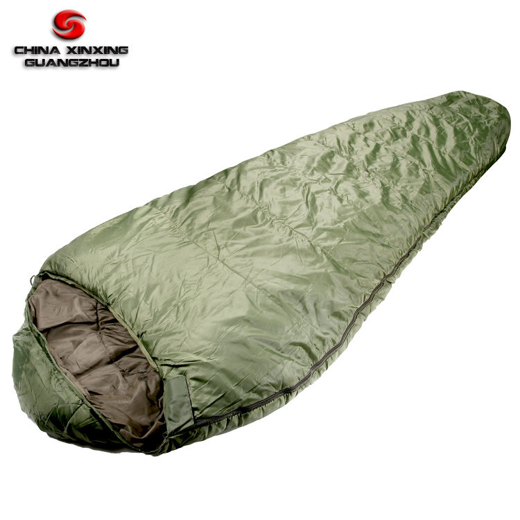 Olive green color military standard 210T polyester materials sleeping bag