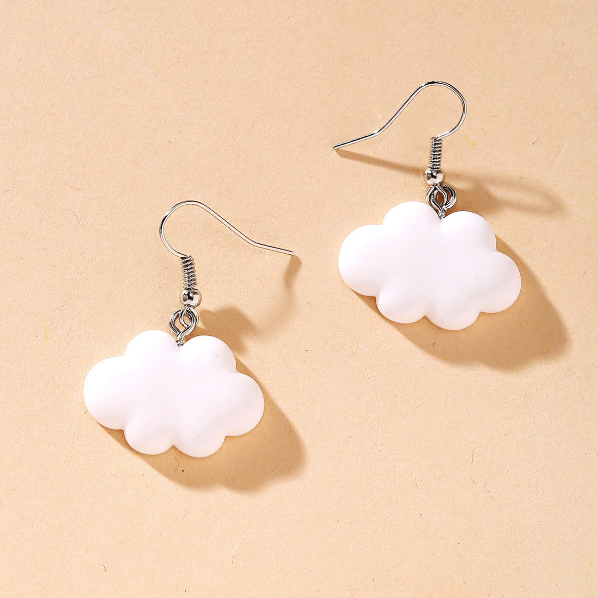 Wholesale Fashion Women Designs Sweet Dangle Trendy Making Kit Charms DIY Cute Colorful Plastic White Cloud Earrings