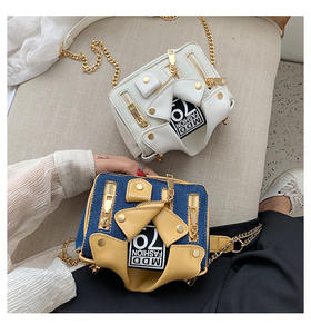 New Chic Designer Square Jacket Handbag Purse Function Style Chains Bag Pu Leather Girls Crossbody Bag