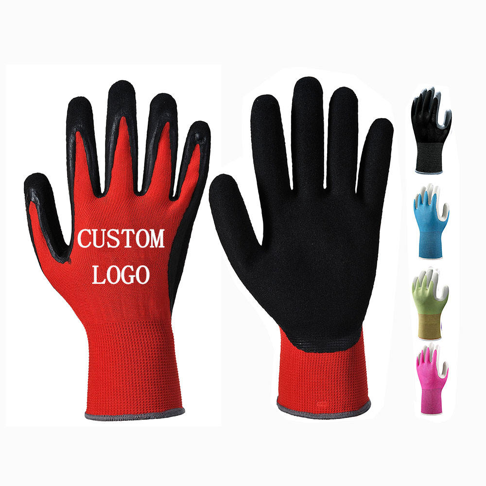 Custom Logo Red Black Coated Oil Wet Grip work gloves Man Rubber Nitrile Palm Dipped safety glove Women Mechanic Construction