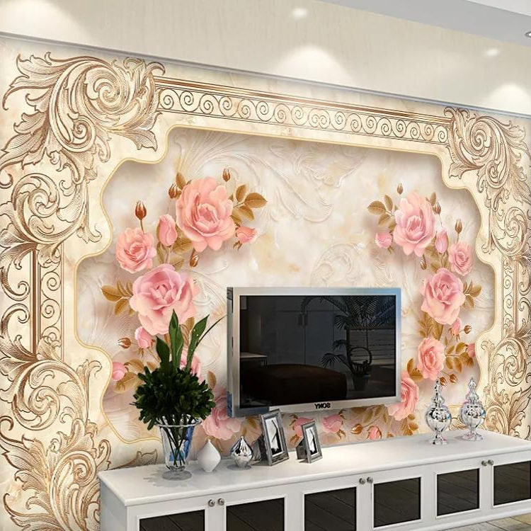 luxury wallpaper flower design Seamless silk cloth Canvas 3d Mural for home decor UV printing self adhesive
