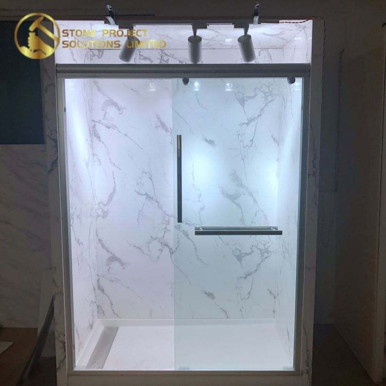 Inexpensive Wall Panels Cultured Shower Base Price Synthetic Marble Tiles For Decoration